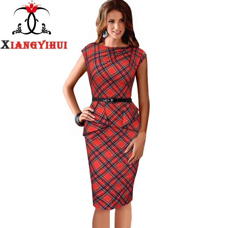 Womens Elegant Red Check Plaid Ruched Cap Sleeve High Waist Casual Work Office Party Sheath Bodycon Pencil Dress(China (Mainland))