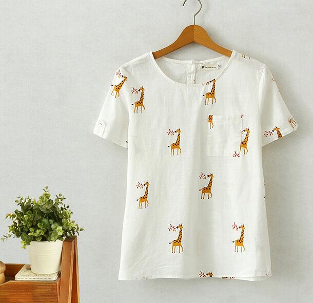 giraffe print pattern linen o-neck short sleeve pocket summer new t-shirt tee top girl(China (Mainland))