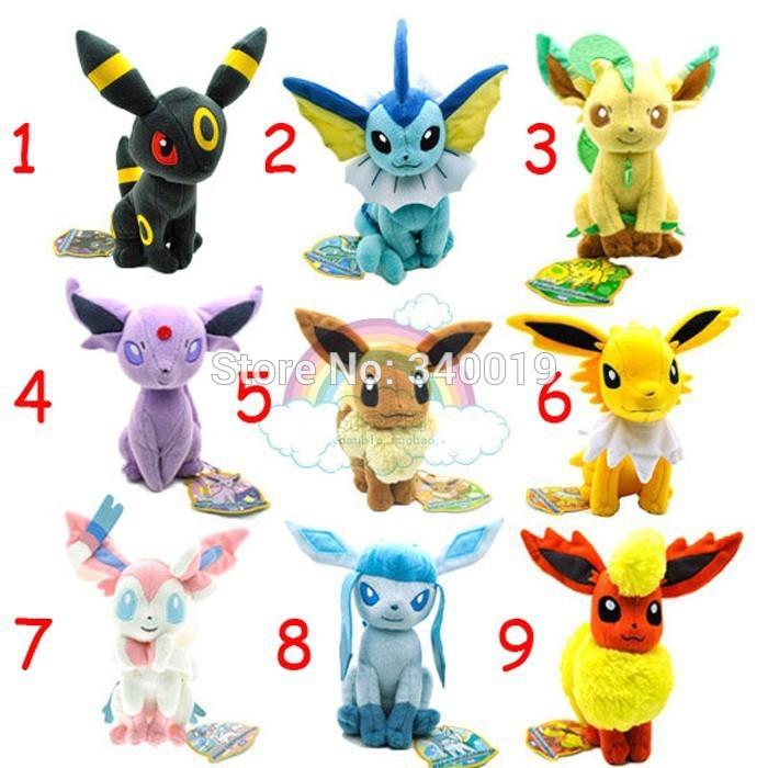 Pokemon eevee plush 1 pcs/set 17-21 cm Sylveon Eevee Espeon Jolteon Vaporeon Flareon Glaceon plush toys(China (Mainland))