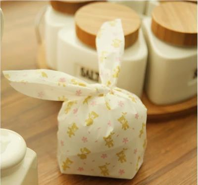 50pcs Lovely handmade bear pattern ear tie plastic bags candy cake cookie fruit DIY gift for friends baking packaging shrink bag(China (Mainland))