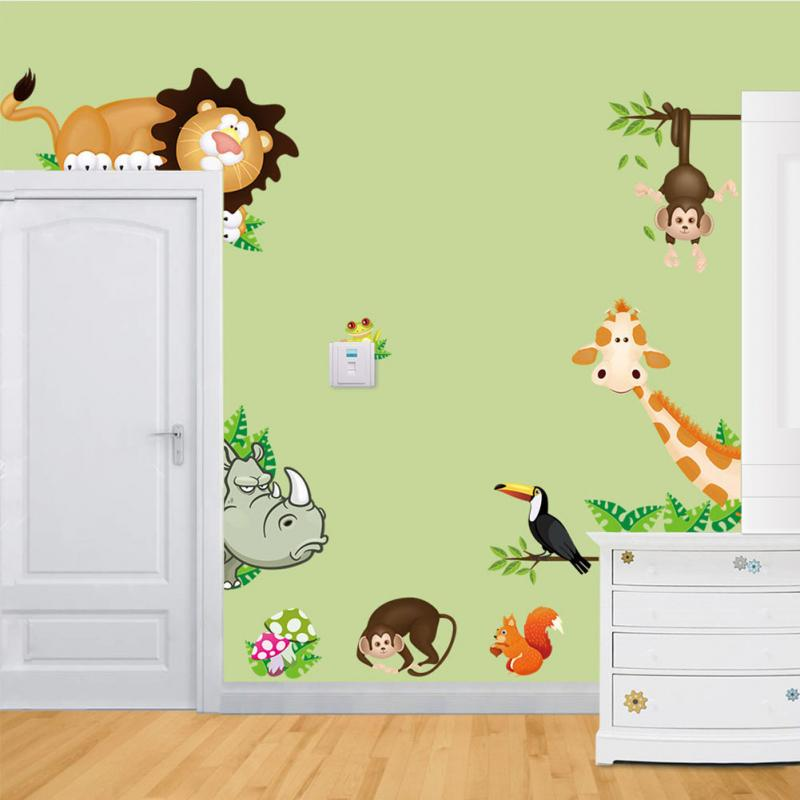 New diy cute jungle wild animals wall art decals kids - Stickers girafe chambre bebe ...