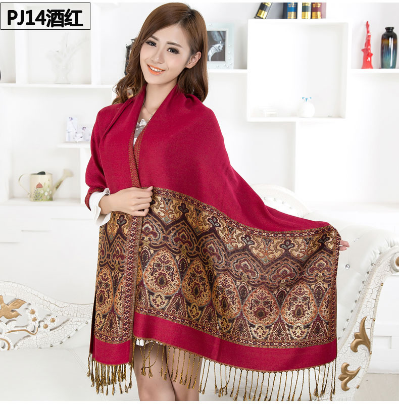 Flower national 2015 both ends of the trend of air conditioning cape dual use scarf autumn and winter thermal women's scarf(China (Mainland))