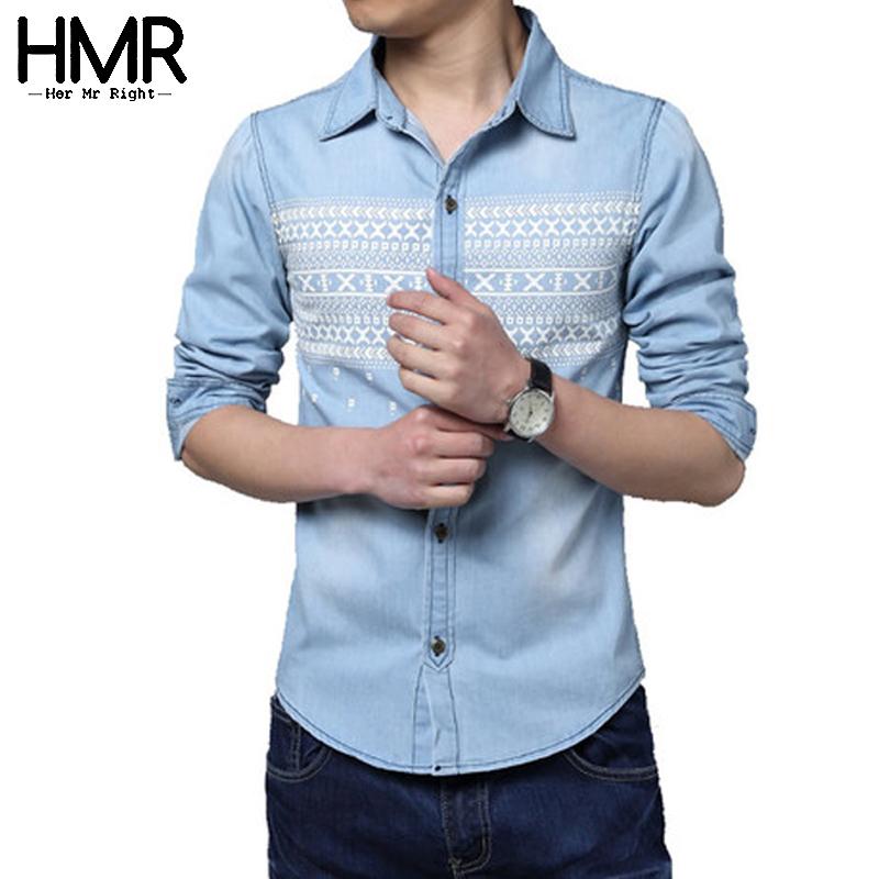 Men denim shirts 2015 brand new plus size long sleeve for Plus size light blue shirt