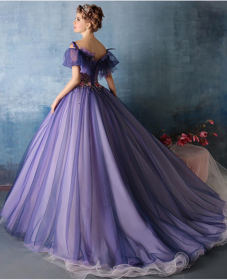 100 Real Purple Flower Beading Waist Ruffle Medieval