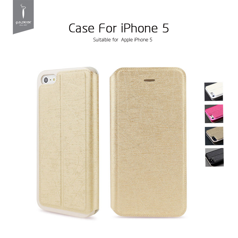 New Arrival Luxury PU Case Cover for iPhone 5 5s Flip Phone Case With Package Godosmith Brand Original(China (Mainland))