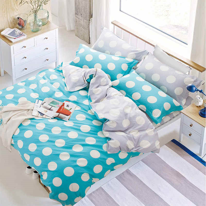 SleepWish Blue Polka Dot Bedding Duvet Cover Set Reactive Printed Bed Sheet Simple and Casual Sheet 4Pcs Queen Markdown Sale(China (Mainland))