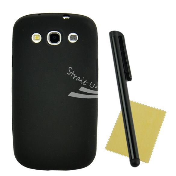 Black Soft Silicon Shell Cover Case + Clear Protector Touch Pen Samsung Galaxy S III I9300 - Zoe store