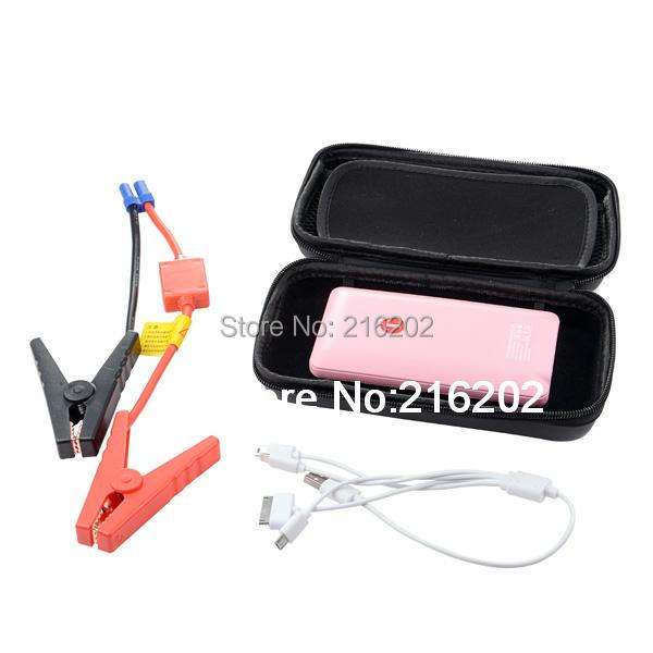 Mini Hot sale 8000mAH 2015 Car Jump Starter Car Emergency Power Bank Mobile phone Rechargeable Battery Charger Pink(China (Mainland))