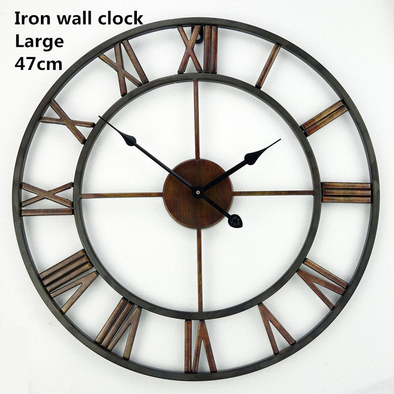Handmade oversized 3d retro roman wrought iron vintage Oversized metal wall clocks