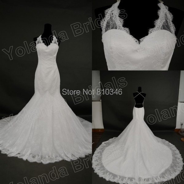 Buy sexy mermaid lace wedding dress with for Cross back wedding dress