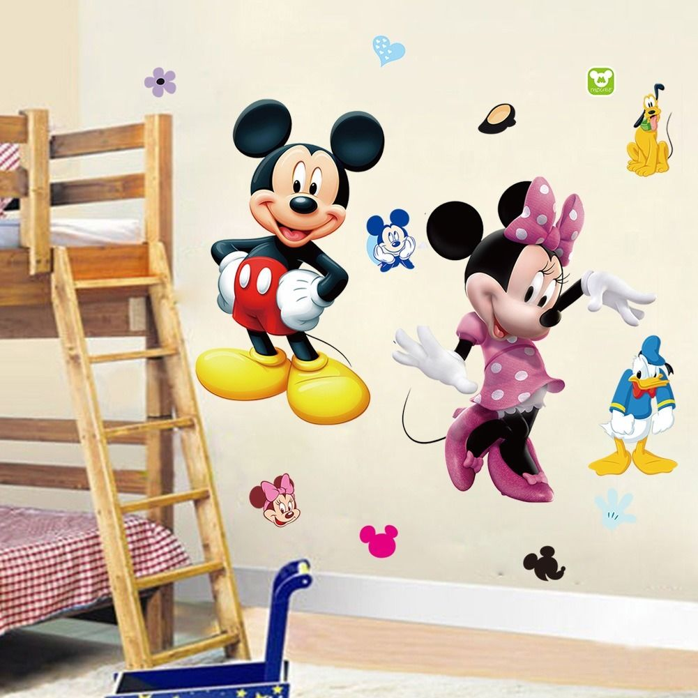Diy mickey mouse minnie pvc wall sticker decals kids for Mickey mouse home decorations