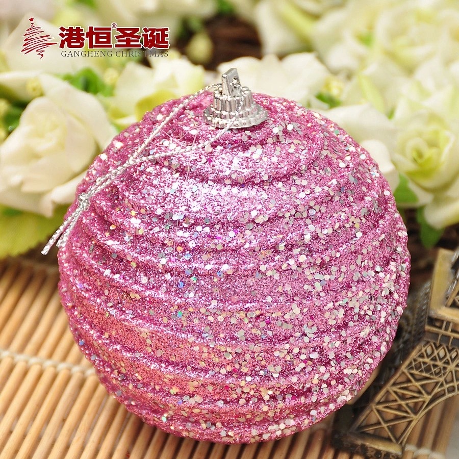 Christmas Tree Ornaments 8 cm pink foam luxury high quality Christmas balls 20 g (A pack of six balls) (GHB007-6)(China (Mainland))