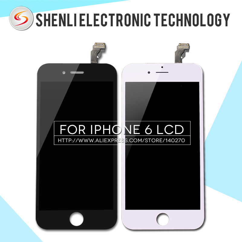 10PCS/LOT For iPhone 6 LCD display with touch screen digitizer assembly in Black & White 4.7 inch Free DHL Ship(China (Mainland))