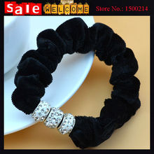 Rhinestone Velvet Cloth Elastic Hair Band Ties Rubber Hair Rope Flower Hair Jewelry for Women Ponytail Holder Hair Accessories