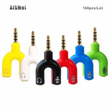 AiSMei 100PCS/Lot Jack Headphone Mic Audio Cable combine for iPhone HTC Sony Xiaomi 3.5mm Audio Earphone Headset to 2 Female