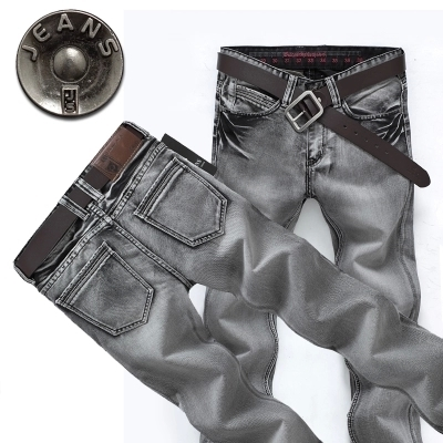 New Brand Cotton Vintage Mens Jeans Casual Straight Gray Denim Long Pants Retro Zipper Slim Men Jeans Plus Size 38,36,34,33,32Одежда и ак�е��уары<br><br><br>Aliexpress