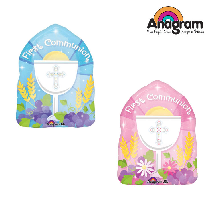 1pcs/lot Anagram Blessed 1st Communion Foil Balloons Easter Religious Balloon Party Supplies Helium inflate Toy Made in America.(China (Mainland))