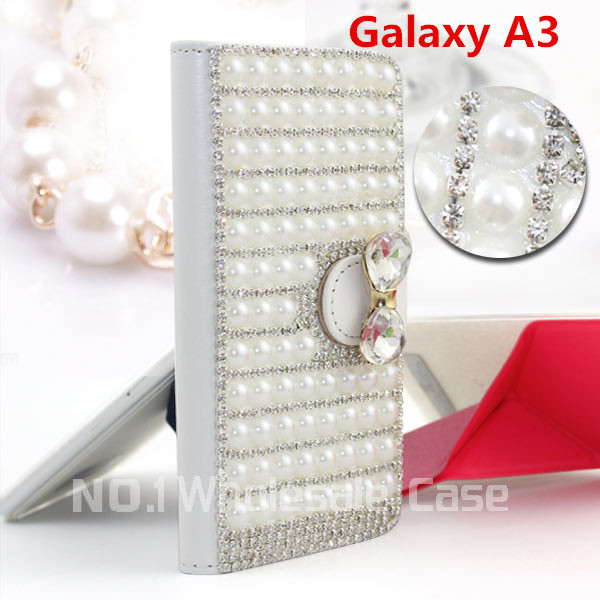 Hot Sale Fashion Luxury Leather Flip Pearls Wallet Mobile Phone for Samsung Galaxy A3 A5 A7 E5 E7 Free Gifts USB+Dust Plug(China (Mainland))