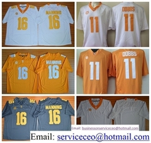 Tennessee Volunteers College 16 Peyton Manning 11 Joshua Dobbs Yellow Grey White Team Color Embroider Logos product(China (Mainland))