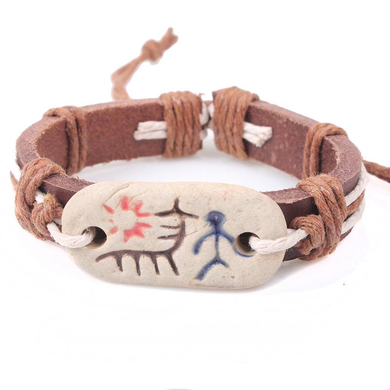 2016 fashion primitive tribal totem men learher bracelets new design magnetic adjustable wire bracelet&bangle Valentine's Day(China (Mainland))