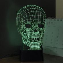 3D RGB Cranial Skeleton Head Dimmer Table Lamp Acrylic LED Night Light Micro USB Desk Lamp Personality Small Night Lamp(China (Mainland))