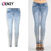 LIENZY Diamante women distressed jeans Sequin Scratched Light Blue Low Waist Slim Skinny Long Pencil Jeans Female