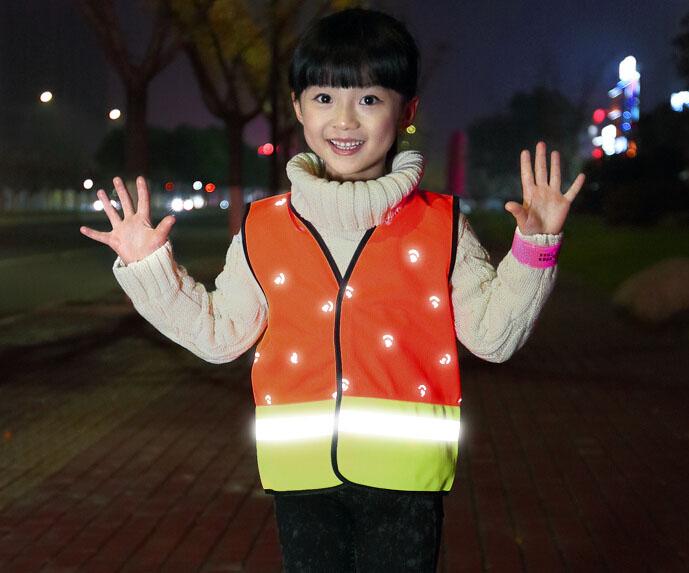 Бесплатная доставка детей дети жилет безопасности светоотражающий жилет полосой с липучкой светоотражающий рабочая одежда
