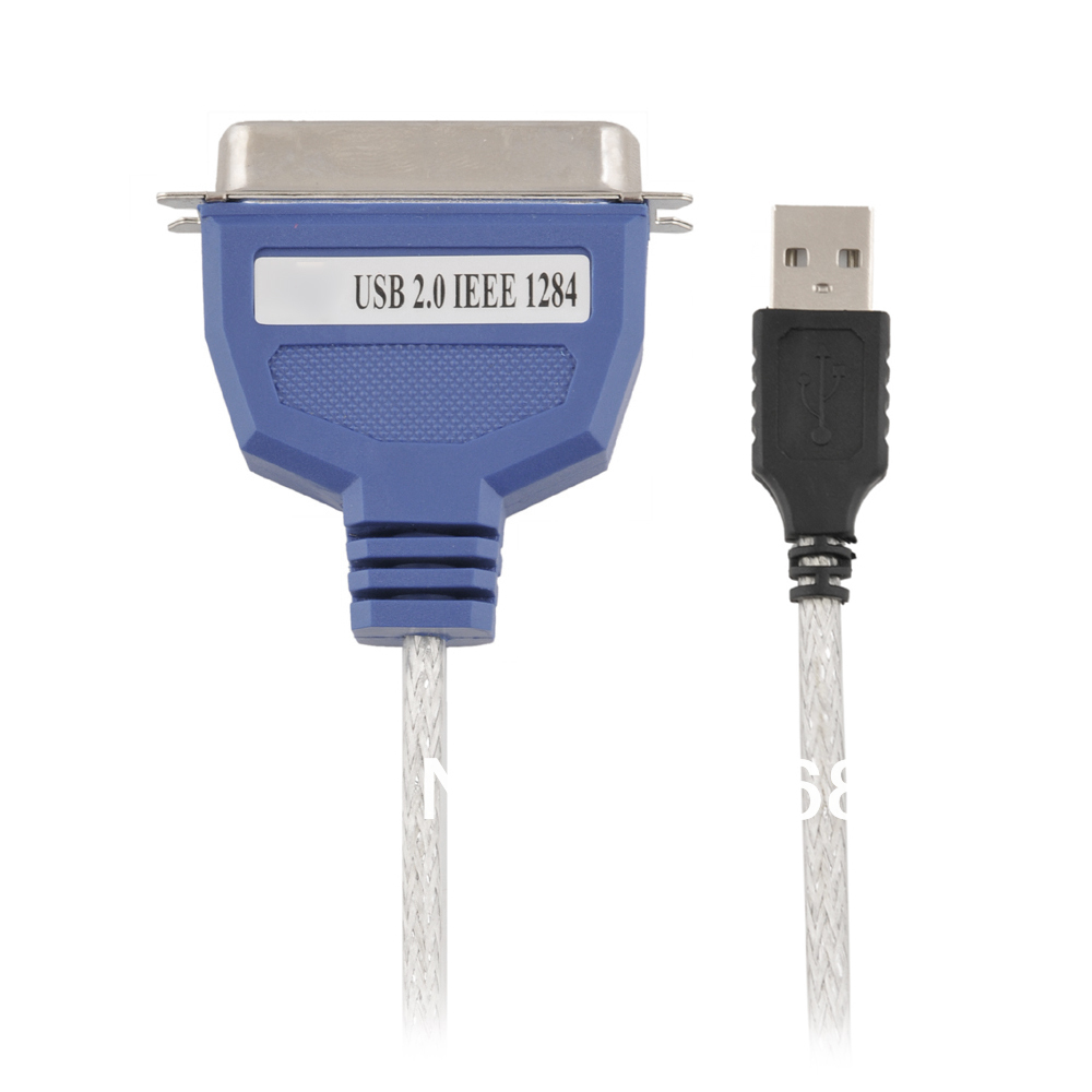 Free Shipping USB to Parallel 36Pin 36 Pin IEEE-1284 Parallel Printer Adapter, Blue with Crystal Cable Braided Flexible Wire(China (Mainland))