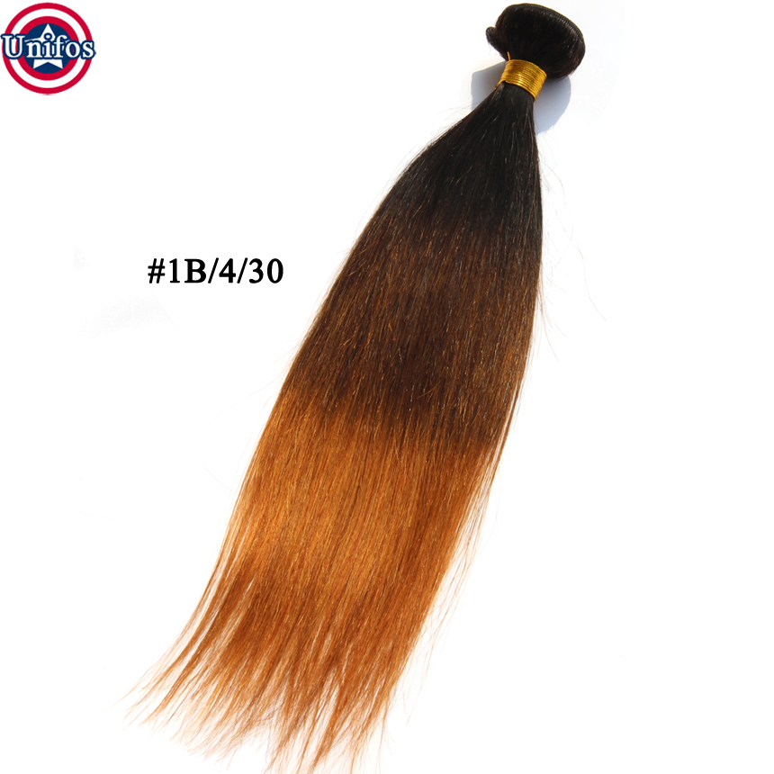 Three Tone Brazilian Hair Weave Bundles Ombre Brazillian Hair 1B/4/30 Straight Ombre Human Hair Extensions Tissage Ombre Hair