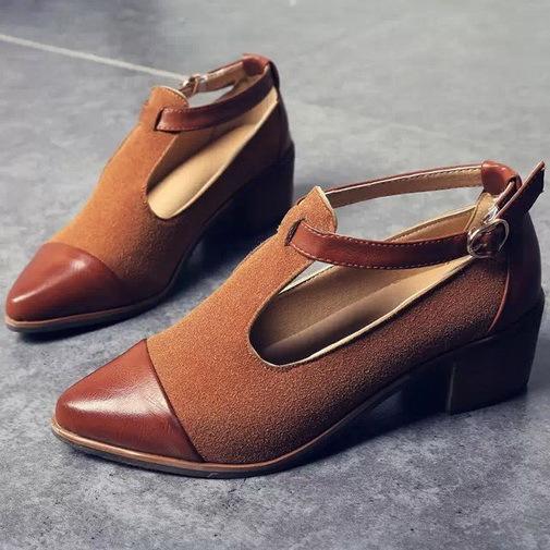 Women Heels 2015 Retro Ladies Shoes Women High Heels Wood Chunky Heel Pointed Toe High Heels T-Strap Solid Women Pumps(China (Mainland))
