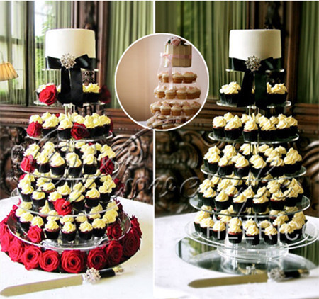 5 Tier Crystal Clear Circle Round Acrylic Cupcake Tower Stand Wedding Birthday Cake Plate Candy Dessert Pan Decoration(China (Mainland))