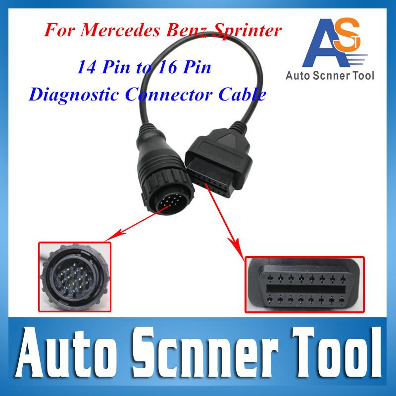 Для Mercede бенц спринтер 14Pin мужчин и 16 контакт. OBD 2 диагностический сканер соединительный кабель адаптер 14Pin Benz конвертер 14 контакт.