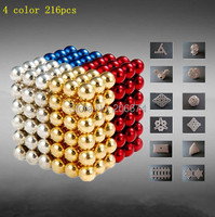 mixed 4 color 216pcs Diameter 5mm Buckyballs Neocube Magic Cube Puzzle Magnetic Magnet Balls Spacer Beads Education Toy