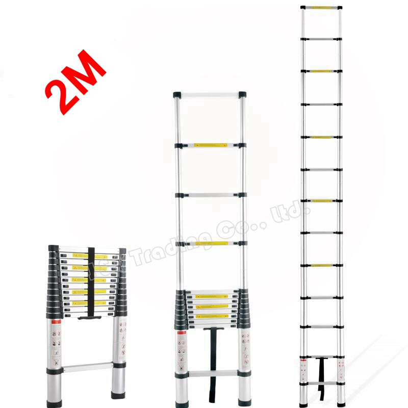 2M Portable Household Extension Telescopic Ladder Multipurpose Retractable Aluminum Alloy Straight Ladder Adjustable Ladder(China (Mainland))