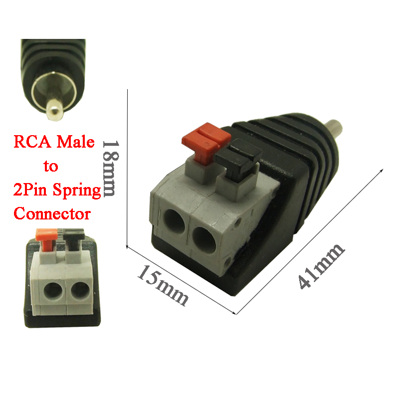 50pcs free shipping Phono RCA male plug RCA to 2pin spring connector CCTV ,CAT5 To Camera CCTV Video BNC Balun(China (Mainland))