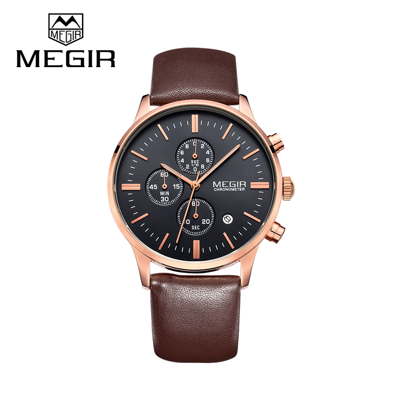 relogio masculino Megir original brand fashion casual military watch of men leather strap business sport watches hour clock male<br><br>Aliexpress