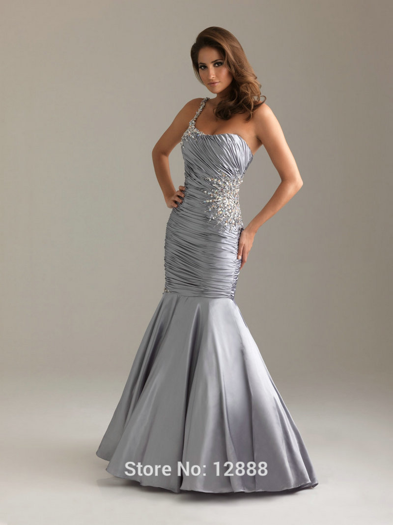 Silver green mermaid sweetheart one shoulder women long for Silver dresses to wear to a wedding
