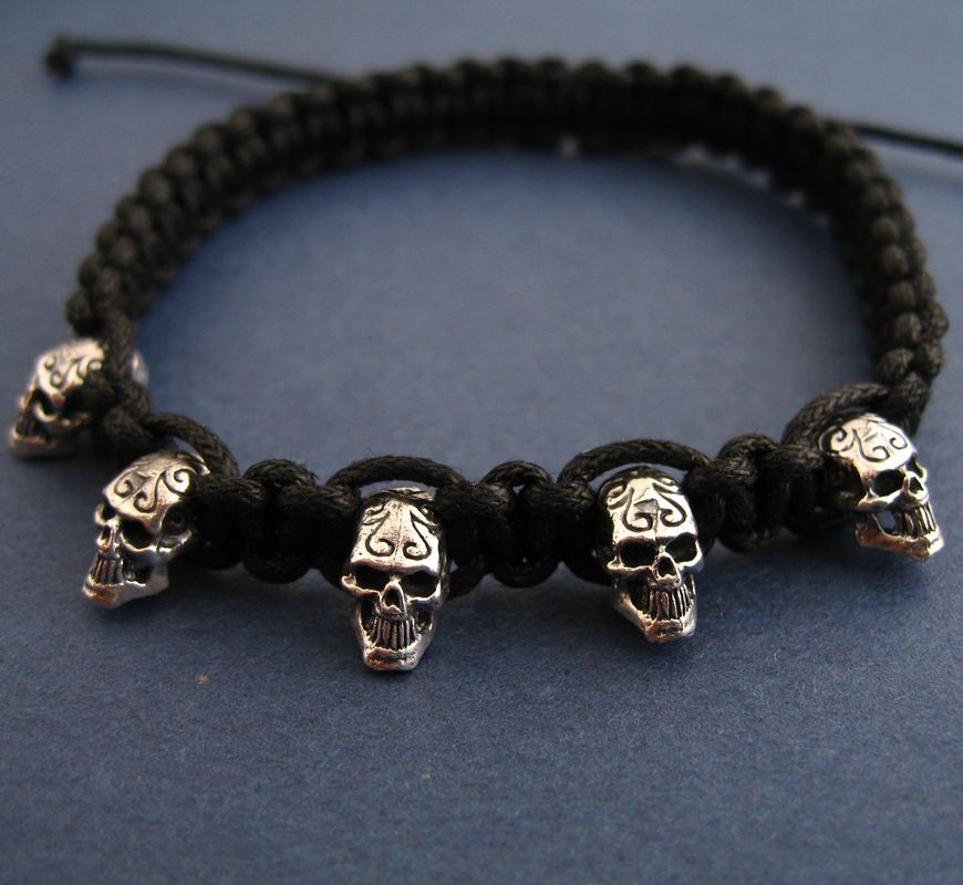Fashion personality thai silver 925 pure silver skull bracelet male black knitted bracelet hand-rope<br><br>Aliexpress