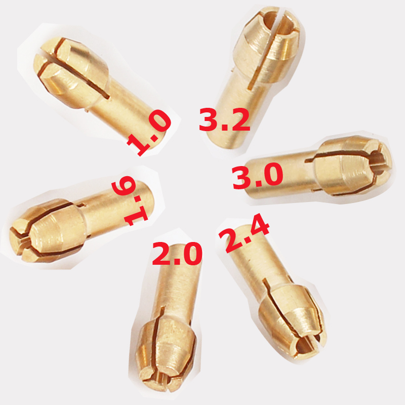 Гаджет  1.0/1.6//2.0/2.4/3.0/3.2mm 6 Pieces Mini Drill Brass Collet Chuck for Dremel Rotary Tool Including dremel accessories None Инструменты