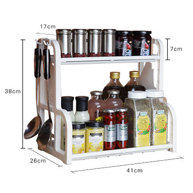 Buy Double-layers Multi-function Shelves Condiment Knife Shelf Kithchen Tools Storge Rack with Hook Up High Quality cheap