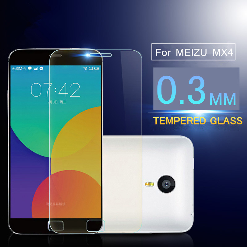 0.3mm Ultra Thin Tempered Glass for Meizu MX4 with 2.5D Arc Edge anti-Crsh High Definition Screen Protecter with Clean Set(China (Mainland))