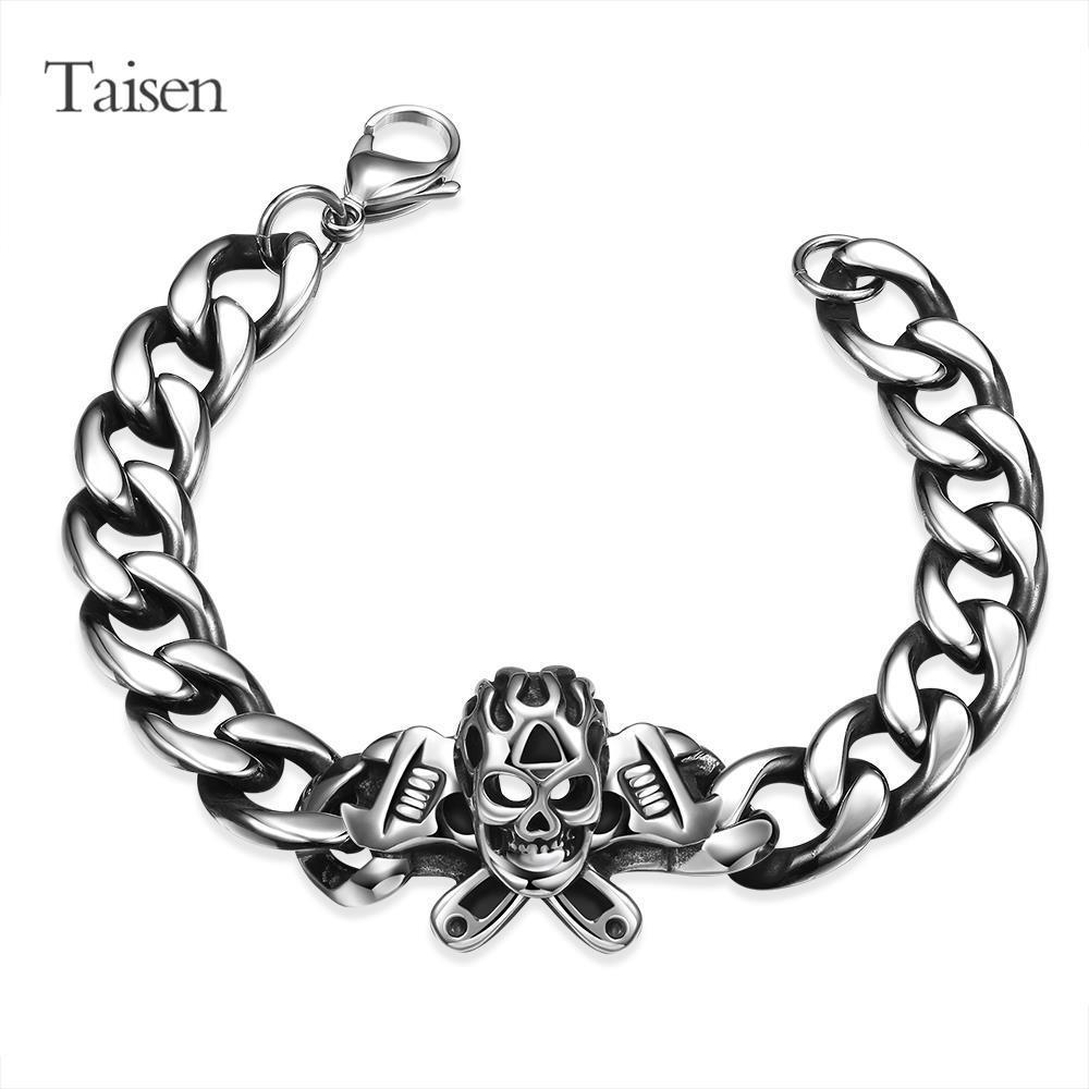 HIGH quality stainless steel bracelets for men jewelry punk rock skull bracelet & bangle male bracelet charms vintage(China (Mainland))