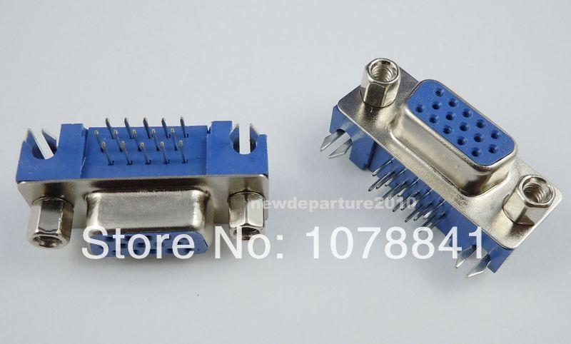 100 Pcs Per Lot D-SUB 15 Pin Right Angle Female VGA PCB Connector 3 Rows Type 5.08<br><br>Aliexpress