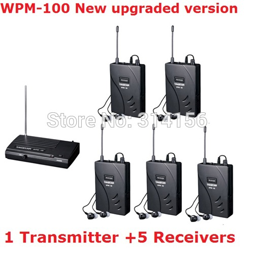 Upgraded Takstar wpm-100/ wpm100 UHF Stage Wireless Monitor System In-Ear earphone Wireless Stereo 1 Transmitter +5 Receivers(China (Mainland))