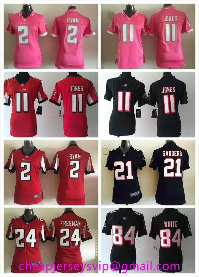 Stitched Women Atlanta Falcons Matt Ryan Julio Jones Deion Sanders Roddy White Devonta Freeman Tony Gonzalez For Ladies Girls(China (Mainland))
