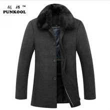 2016 Men's wool overcoat long feather collar thickening men's jacket business style single breasted winter peacoat  168(China (Mainland))