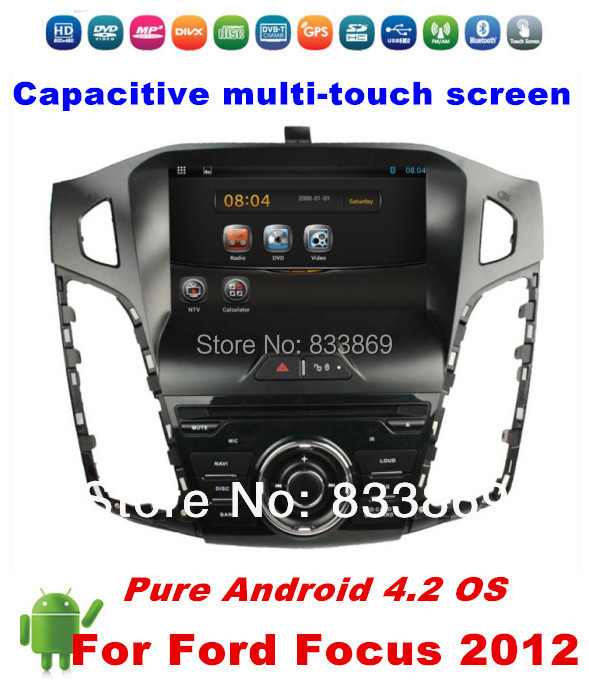 """Pure Android 4.2 OS HD 8 """"Single din Car DVD GPS for Ford Focus 2012 With 3G/WIFI Bluetooth phone IPOD TV 3D UI PIP Radio AUX IN(China (Mainland))"""