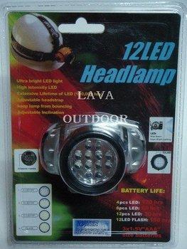 LED Head Lamp - LED Head Light,Helmet Lamp,12 LED Bulbs;Very Low Price,Nice Performance,Ultra-light,Drop Shipping,Free Shipping