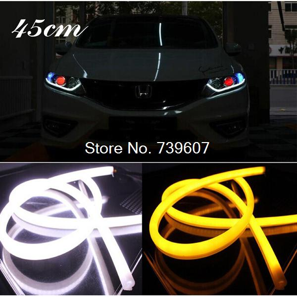 2pcs 45cm Flexible LED DRL Switchback Strip Tube Daytime Running Light Car Headlight With Tturn Signal light lamp(China (Mainland))