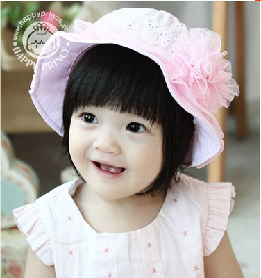 2015 New Cotton Flowers Children baby hat Beautiful princess hat 1-3 year-old 50cm girl hat One Size Two colors(China (Mainland))